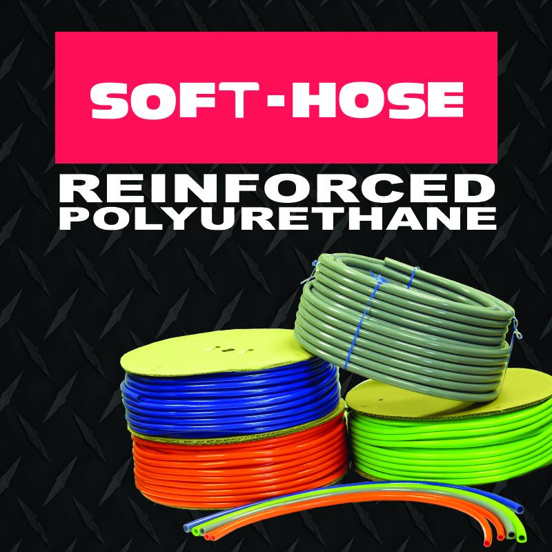 Soft reinforced polyethylene braided hose