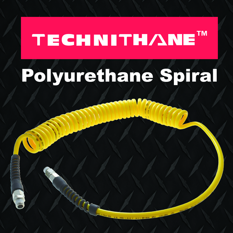 Technithane spiral recoil hose for automotive and general purpose