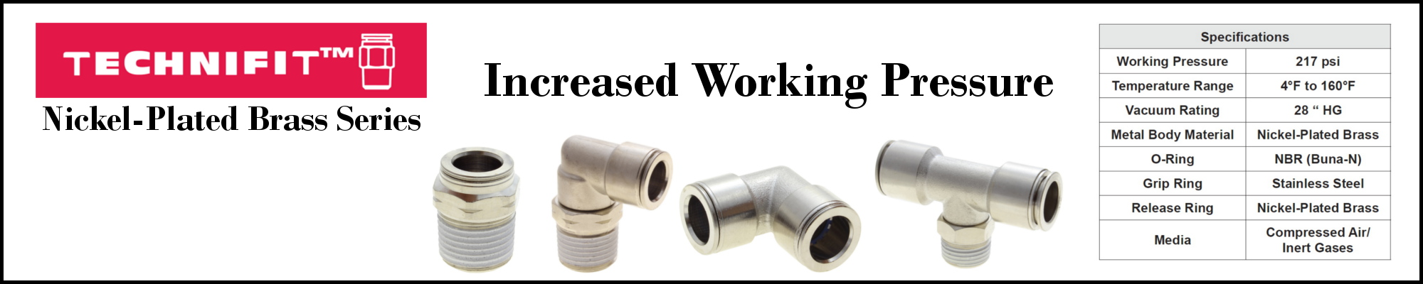 Technifit Nickel-Plated Brass Series Push-to-Connect Fittings