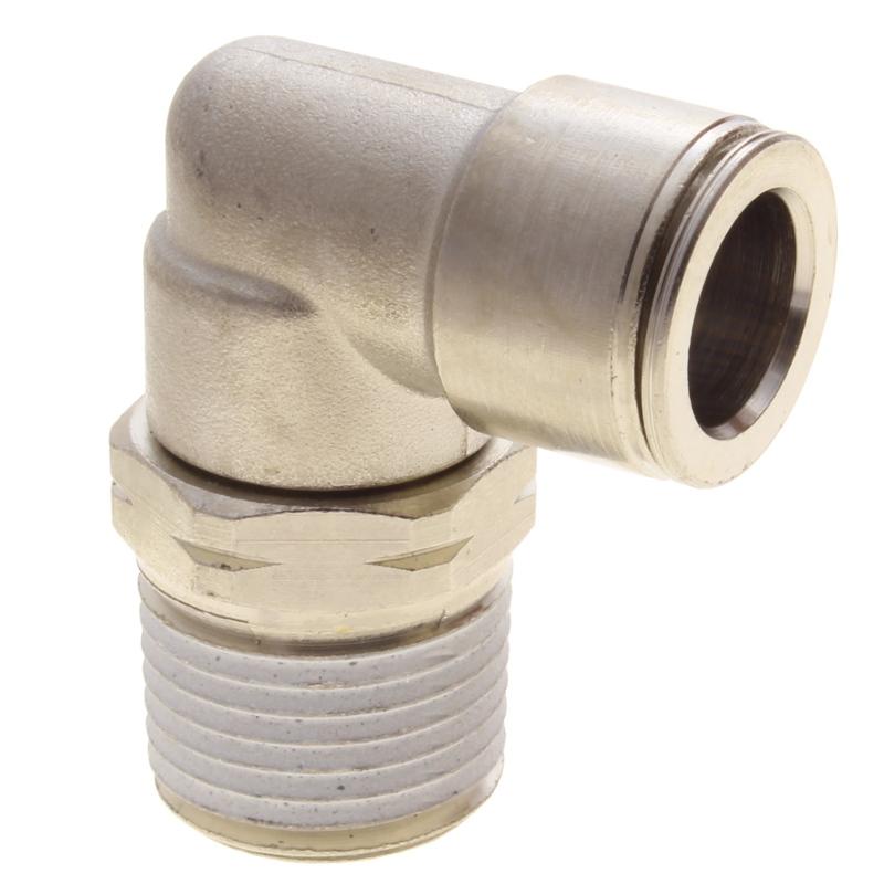 6mm Tube x BSPT Nickel Brass Swivel Male Elbow