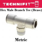 Brass Hex Male Branch Tee Metric