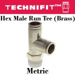 Brass Hex Male Run Tee Metric