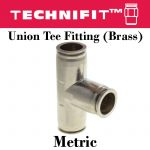 Union Tee Fitting Brass Metric