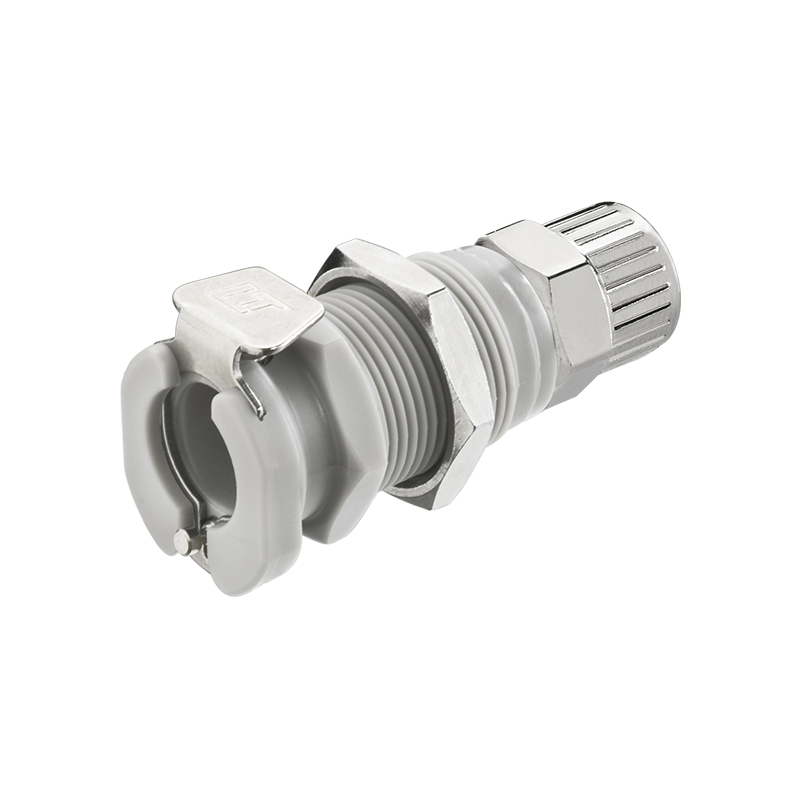 3//8 PTF Valved 40PP Series Elbow Plug Molded Grey Color 40PPV-PE10-06 Sold in a package of 25